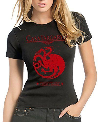 212-Camiseta Mujer Juego De Tronos - Casa Targaryen (M, Negro)