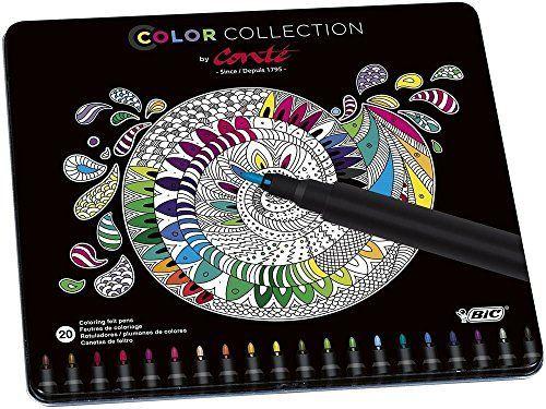 BIC Conté - Caja metálica de 20 rotuladores de colores