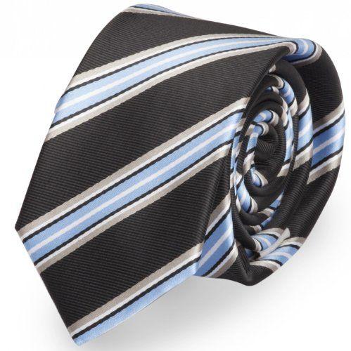Fabio Farini - Corbata negra con rayas azules claras