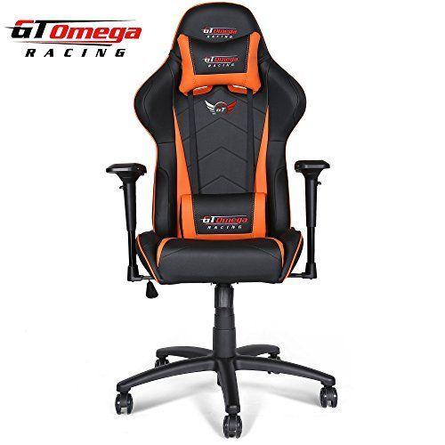 GT Omega Racing Pro - Silla de oficina de piel, color negro y naranja