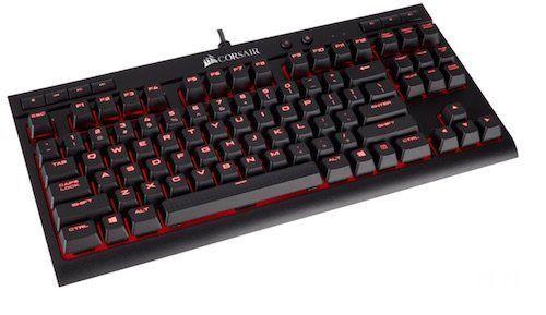 Corsair K63 - Teclado mecánico Gaming (Cherry MX Red, retroiluminación LED roja, QWERTY Español), negro