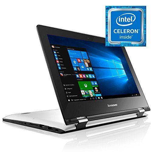 "Lenovo Yoga 300-11IBR - Portátil táctil convertible de 11.6"" HD (Intel Celeron N3060, RAM de 2 GB, EMMC de 32 GB, Intel HD Graphics 400, Windows 10 Home 64 bit), blanco nieve - Teclado QWERTY Español"