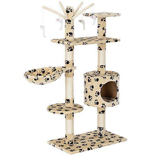 Rascador para gatos con juegos, cueva y hamaca [en.casa] 65x35x130 cm