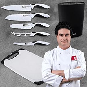 Set de 5 cuchillos Bergner con tacoma y tabla de cortar