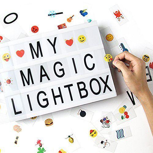 Caja de luz de cine con 96pcs letras, 108pcs emojis coloridos - Dreamore DIY cinematográfica caja de luz LED, combinación libre A4 (96pcs letras, 108pcs emojis coloridos )