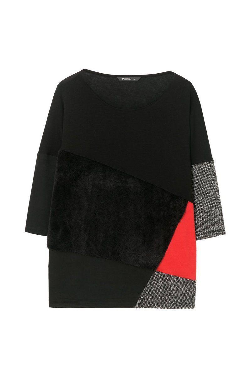 Desigual - Mujer - Camiseta negra ancha - Oversize Cougar - Oversize Cougar - Size L
