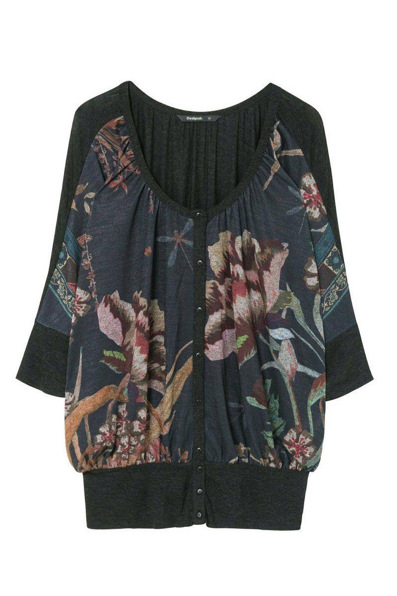 Desigual - Mujer - Camiseta negra con botones - Bertin - Bertin - Size L