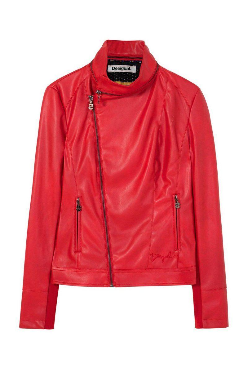Desigual - Mujer - Cazadora de polipiel roja - Leman - Leman - Size 38