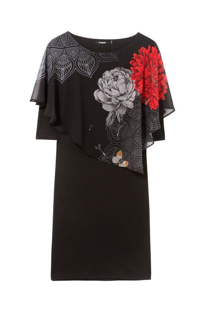 Desigual - Mujer - Vestido negro de manga 3/4 - Alexandre - Alexandre - Size M