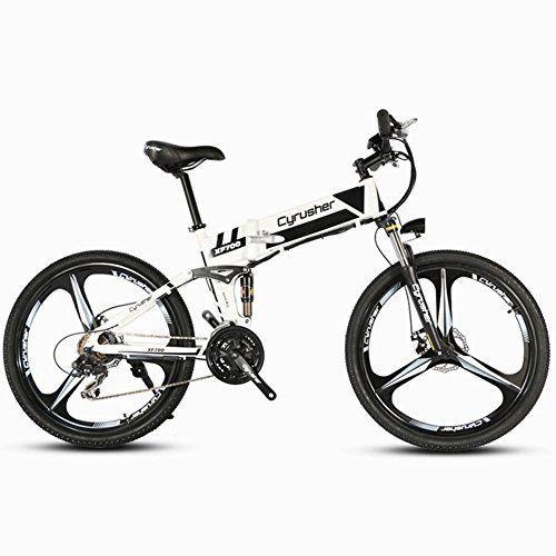 Extrbici xf700 26 pulgadas x 17 pulgadas bicicleta eléctrica plegable (estructura de aluminio plegable montaña bicicleta Full Suspensión 21 velocidades Shimano 250 W 36 V oculta iones de litio recargable inteligente ordenador de bicicleta doble freno de disco mecánico, hombre, Xf700, Black-White