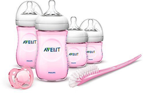 Philips Avent SCD290/03 - Set Regalo gama Natural para recién nacidos, 2 biberones 125 ml, 2 biberones 260 ml, 1 escobilla, 1 chupete, color rosa