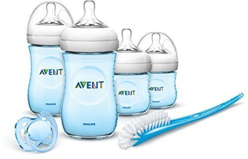 Philips Avent SCD290/04 - Set Regalo gama Natural para recién nacidos, 2 biberones 125 ml, 2 biberones 260 ml, 1 escobilla, 1 chupete, color azul