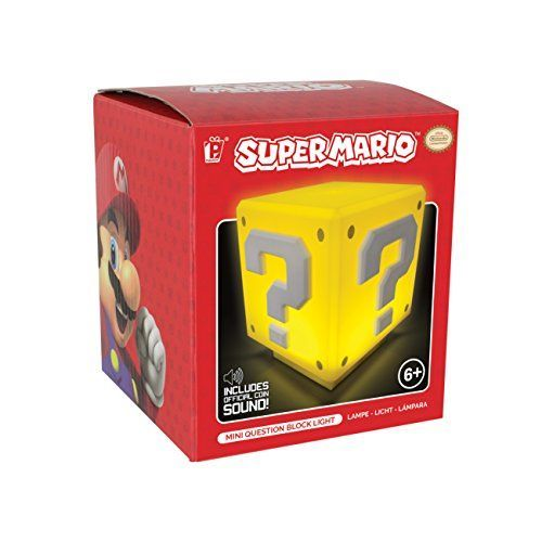 Super Mario Nachttischlampe mit Sound Fragezeichen-Block 8 cm [Importación alemana]