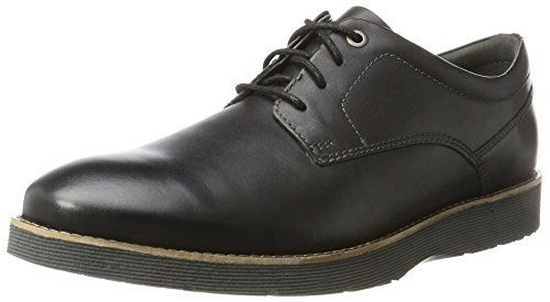 Clarks Folcroft Plain, Derby Para Hombre, Negro (Black Leather), 44.5 EU