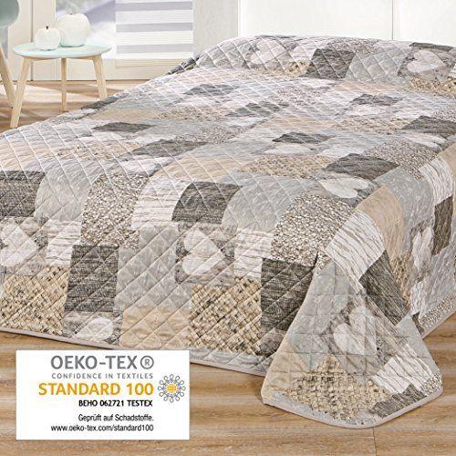 Delindo Lifestyle® Colcha CORAZONES / para cama doble / patchwork marrón / 220x240 cm