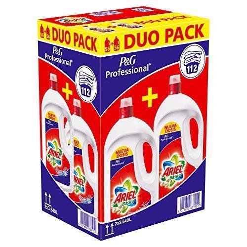 Detergente Ariel Basico Líquido 112d, Caja con 2 botellas
