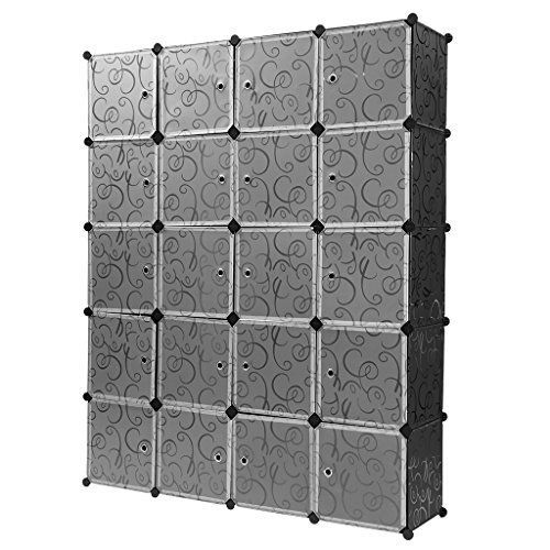 Finether-Armario Modular Estantería de Módulos Estante de Cubos (Organizador Rizado Estampado de 20 Cubos, Sistema de Estanterías de Escaparate para Hogar, Ropa, Juguetes, Chismes), Negro