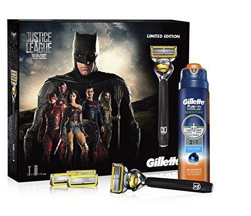 Gillette Fusion ProShield - Set de regalo edición limitada Liga de la Justicia, Batman, con maquinilla, 3 recambios y gel de afeitado de 170 ml