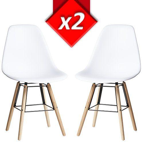 Pack 2 sillas tower Halley Blanco, silla eames blanco y madera de haya, Medidas: 47 cm ancho x 56 cm fondo x 81 cm altura