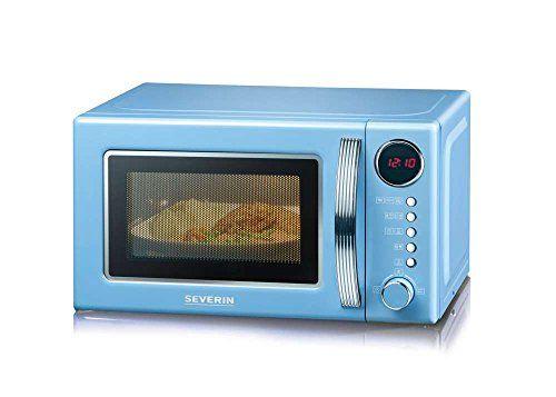 Severin MW 7894 - Microondas con grill 2 en 1, 700 W, 5 niveles de potencia, 8 programas de cocinado, display digital multi-función, reloj, color azul