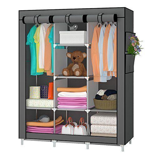 UDEAR Armarios Dormitorio Baratos Armario de tela plegable Ropa organizador Closet portátil Guardarropa Gris