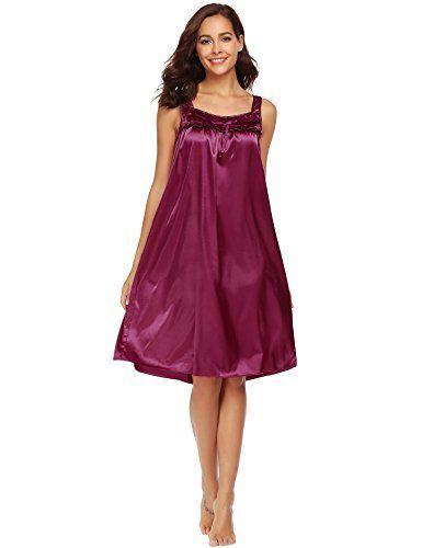 Ekouaer Mujer Camison Mujer Satén Camisones Satén Con Cordón Pijamas Satén