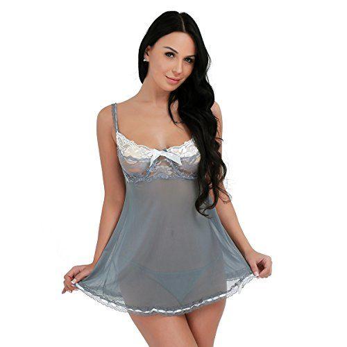 iEFiEL Lencería de Dos Piezas un Picardías + un Tanga para Mujer Pijama con Tiras Ajustables de Malla Transparente Gris Gris XXL