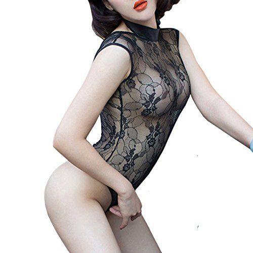 Lencería translúcida Adesugata para mujeres, lencería sexy de encaje sin espalda, prenda transparente, pijamas de dormir