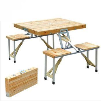 ¡Mesa plegable con asientos y agujero para sombrilla, solo 52,99€!