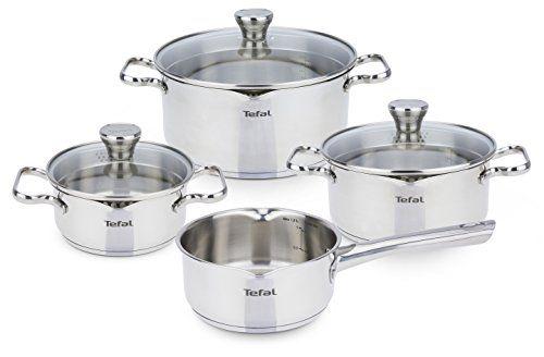 Tefal Duetto - Batería de cocina de acero inoxidable de 4 piezas + 3 tapas de cristal con función escurridor