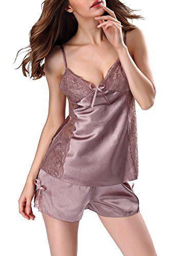 ZIYI Mujer Ropa de Dormir Cuello V Satén 2 piezas Corta Pijama Conjunto