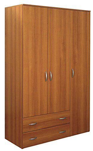 Armario de 3 puertas + 2 cajones H. 175 cm. Dimensiones: L 121 P 52 175. altura Oriana. color de la nuez