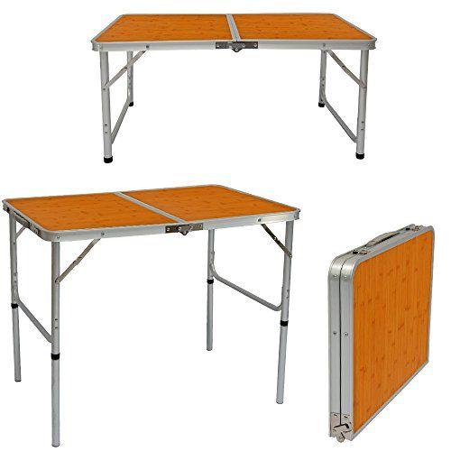 AMANKA Mesa para acampada 90x60x70cm de aluminio plegable portátil como si fuera un maletín altura regulable para pícnic camping Bambú