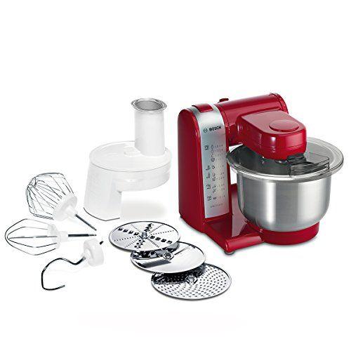Bosch MUM48R1 - Robot de cocina, 600 W, capacidad de 3.9 l, color rojo y gris