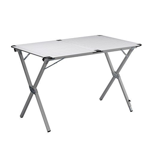 CAMPART TRAVEL Mesa de camping TA-0802 – 110 x 70 cm – Tablero enrollable