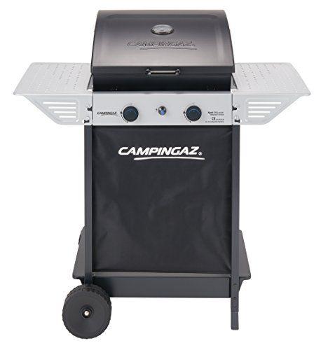 Campingaz Xpert 100 L Plus Rocky Barbacoa Gas para Piedra Volcanica, BBQ gas con 2 quemadores, 7.1kW de potencia, 2 Parrillas de acero cromado, 2 mesas laterales y rocas de lava