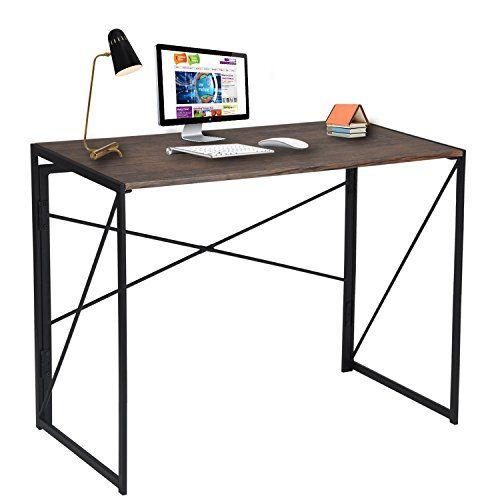Escritorio plegable Coavas PC de madera Mesa plegable Escritorio de estudio Escritorio plegable de la computadora Para el escritorio del hogar y la oficina Escritorio 100 * 50 cm Marrón