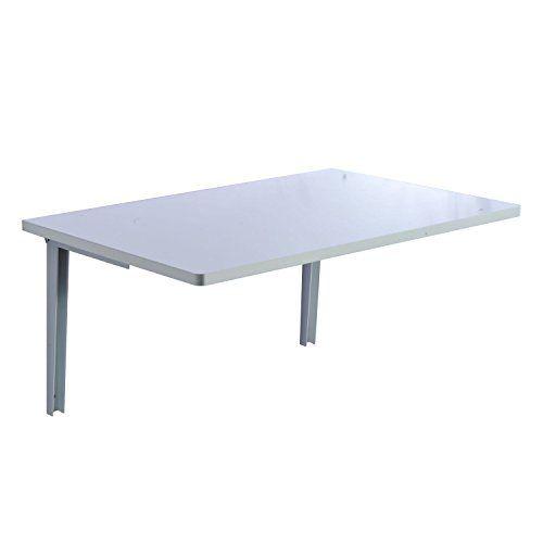 Homcom Mesa Plegable de Pared para Cocina y Comedor 60x40x1,5cm Mesa Auxiliar Color Blanco/Madera (Blanco)
