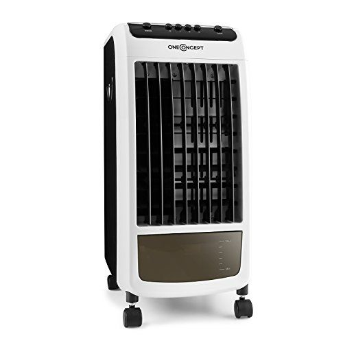 oneConcept Carribean Blue Climatizador, humidificador, ventilador con ruedas • 70W bajo consumo • Alta refrigeración • 400m³ movimiento aire por hora • Tanque de agua 4 litros • 3 niveles velocidades • Filtros limpia acaros • Polvo • Negro-blanco)