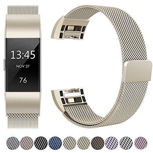 Correa Fitbit Charge 2, HUMENN Milanés Loop Ajustable Pulsera de Acero Inoxidable Repuesto con Cierre Magnético para Fitbit Charge 2 L Champán