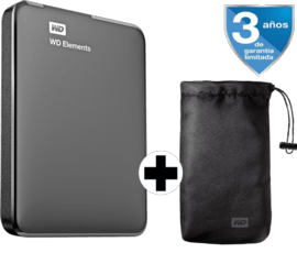 Disco duro de 2tb - wd elements, 2.5 pulgadas + funda