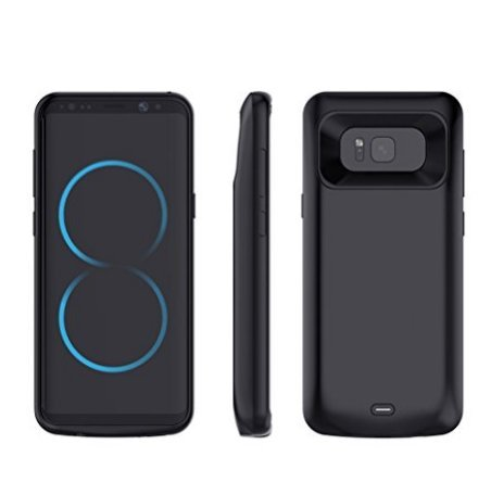 Funda de Batería Externa Ultra Fino, Mbuynow 5000 mah Funda Protectora Cargador/Funda de Batería Integrada Recargable de Alta Capacidad para Samsung Galaxy S8 Inteligente Móvil,Color Negro (S8)