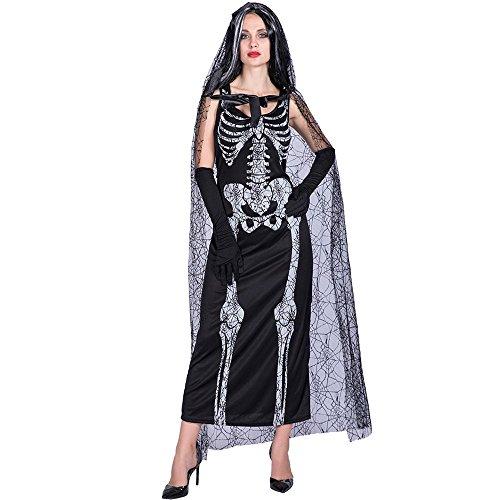 Decdeal Disfraces de Halloween Esqueleto Fantasma Novia,Kit del Dress +Guantes +Cabo,Fiesta de Cosplay Mascarada Mujeres de Atrezzo para la Ropa