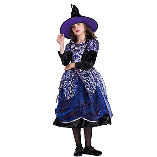Decdeal Disfraz de Bruja de Halloween para Niña,Kit de Vestido y Sombrero,Masquerade Fiesta Cosplay Props,Tamaño para Niñas de 4 a 14 Años