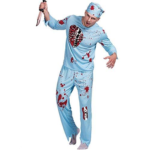 Decdeal Disfraz de Doctor Muertos Vivientes,Macho Adulto Top +Pantalones +Sombrero,Ropa de Fiesta Cosplay Mascarada