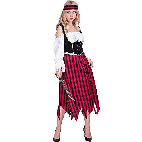 Decdeal Disfraz de Halloween para Mujer,Pirata Medieval Sexy Equipo de Vestido a Rayas + Diadema,para Fiesta de Cosplay Mascarada