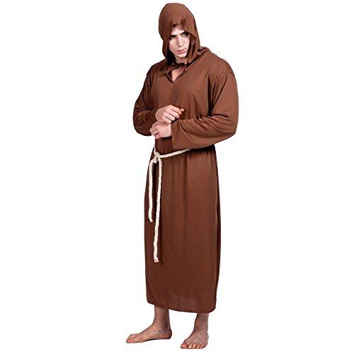 Decdeal Disfraz de Monje Medieval Halloween para Hombre,Kit de Cinturón con Robe + Cinturón,para Fiesta de Cosplay Mascarada