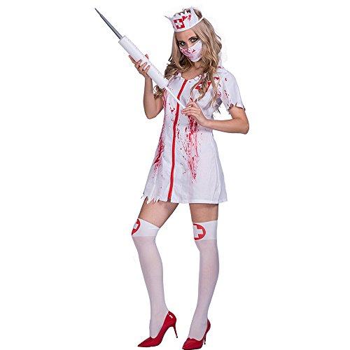 Decdeal Halloween Disfraces de Enfermera Sangrienta,Sexy Lujoso Kit de Vestir +Tocado +Máscaras