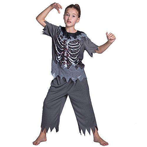 Decdeal Niño Disfraces de Halloween Zombie Esqueleto,Unisex Camisas + Pantalones,Masquerade Fiesta Cosplay Accesorios, para Niños DE 3-7 Años