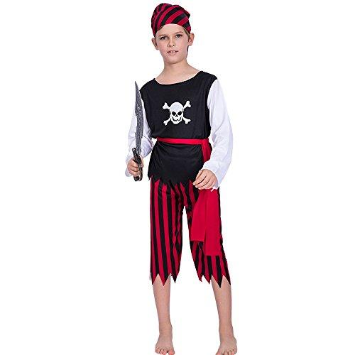 Decdeal Traje de Pirata del Cráneo de Halloween Infantil,Camiseta + Pantalones + Cinturón + Kit Bandana,Disfraz de Cosplay de Disfraces de Mascarada,para Niños de 3-10 Años